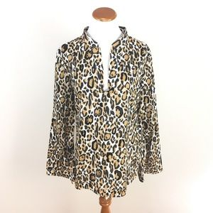 Tory Burch Animal Print Sequin Blouse Top Size 10